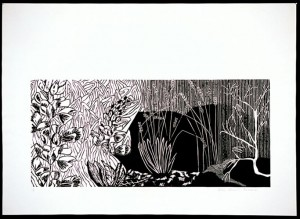 On Essence - linocut, 22in x 30in, ed.:3