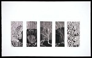 Scenes - linocut, 38in x 24in, ed.:3